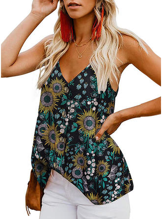 Floral Spaghetti Strap Sleeveless Button Up Casual Sexy Blouses