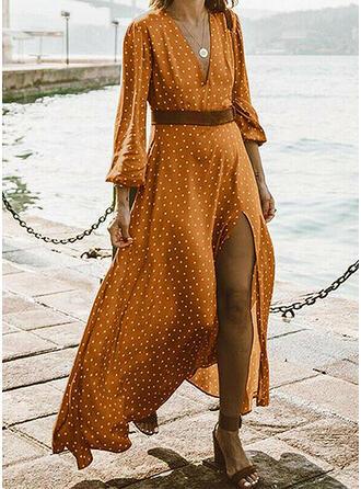 PolkaDot Long Sleeves A-line Casual/Vacation Midi Dresses