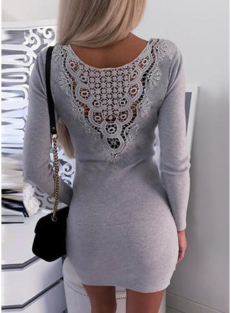 Lace/Solid Long Sleeves Bodycon Above Knee Casual/Elegant Dresses