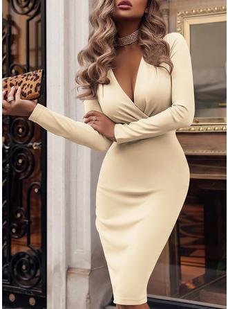 Długie rękawy Typu bodycon Kolano Długość Seksowny/Imprezę Sukienki