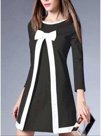 Bow Round Neck Above Knee A-line Dress