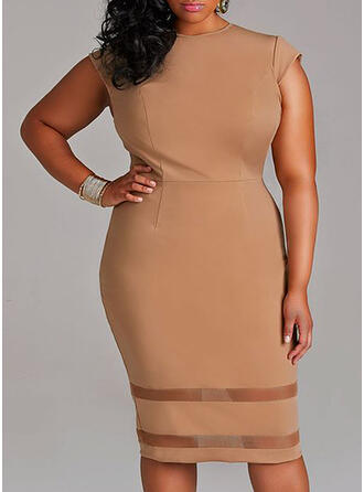 Solid Short Sleeves Bodycon Little Black/Casual/Plus Size Midi Dresses