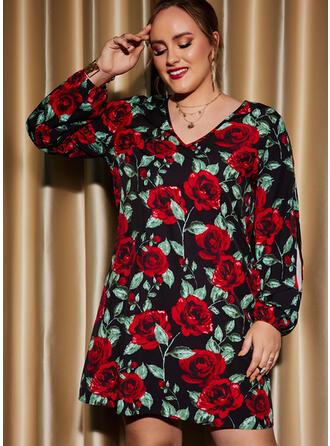 Nadruk/Kwiatowy Długie rękawy Slit Sleeves Suknie shift Nad kolana Impreza/Duży rozmiar Sukienki