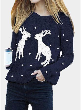 Damskie Bawełna Wydrukować Graficzny Renifer Brzydki świąteczny sweter