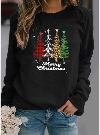 Print Grid Leopard Figure Round Neck Long Sleeves Christmas Sweatshirt