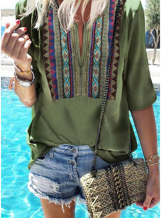 Print V neck 1/2 Sleeves Casual Blouses