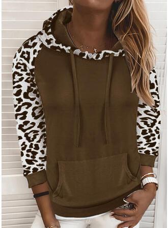 Leopard Lommer Lange ærmer Hoodie