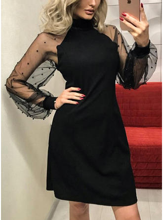Solid Short Sleeves/Long Sleeves Sheath Above Knee Little Black/Party/Elegant Dresses