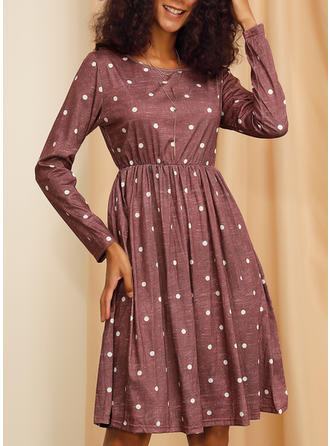 PolkaDot Long Sleeves A-line Knee Length Casual Dresses