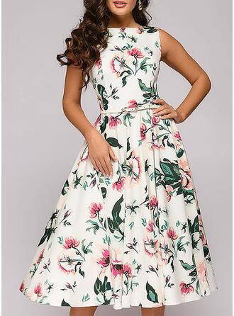 Nadrukowana/Kwiatowy Bez rękawów W kształcie litery A Casual/Elegancki Midi Sukienki