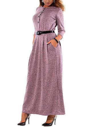 Couleur Unie Manches Longues Droite Maxi Robes