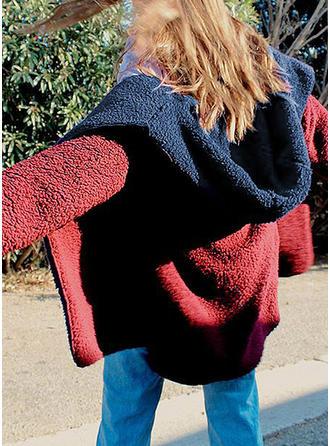 De laine Manches longues Couleur unie Manteaux en Peau de Mouton