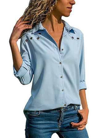 Solido Risvolto Maniche lunghe Bottone Casuale Shirt and Blouses