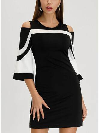 Striped 3/4 Sleeves/Cold Shoulder Sleeve Sheath Above Knee Casual/Elegant Dresses