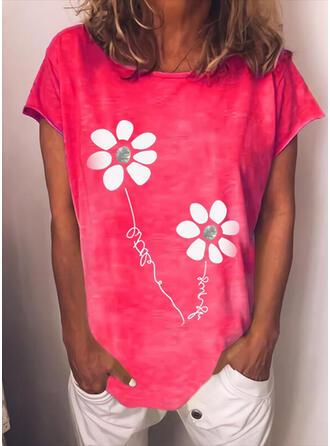 Figur Blomstrete Trykk Rund hals Kortermer T-skjorter