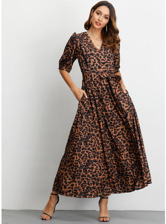 Animal Print 1/2 Sleeves A-line Maxi Casual/Elegant Dresses