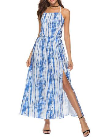 Print Spaghetti Straps Midi A-line Dress