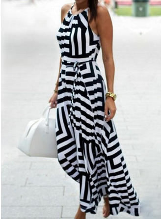 Striped Sleeveless A-line Midi Casual Dresses