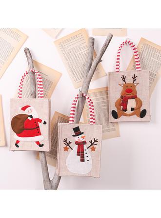 Feliz Navidad Monigote de nieve Reno Papa Noel Bolsa de regalo Lino Bolsas de manzana