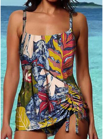 Floral Print Strap Vintage Tankinis Swimsuits