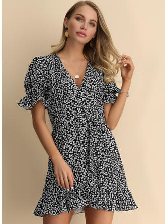 Print Short Sleeves A-line/Sheath Above Knee Casual/Elegant Dresses