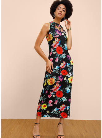 Print/Floral Sleeveless Sheath Maxi Casual Dresses