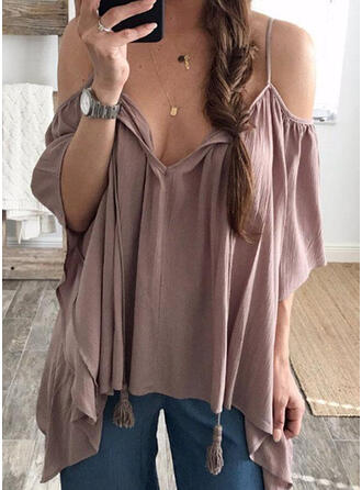 Solid Cold Shoulder 3/4 Sleeves Casual Sexy Blouses