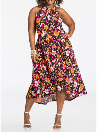 Print/Floral Sleeveless A-line Casual/Plus Size Midi Dresses