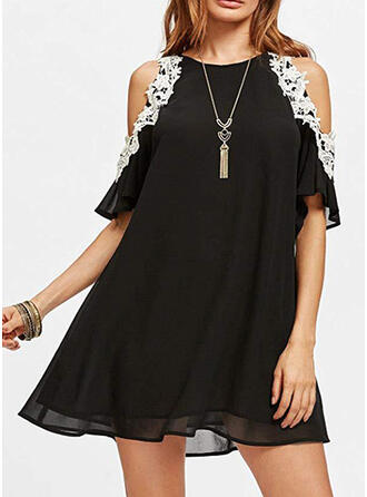 Lace/Patchwork 1/2 Sleeves/Cold Shoulder Sleeve Shift Above Knee Casual Dresses