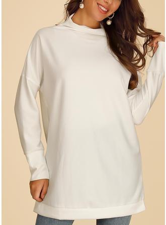 твердый Высокая шея Длинные рукова Повседневная Вязание Блузы