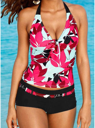 Tropical Print Halter Sexy Tankinis Swimsuits