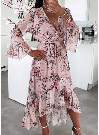 Floral 3/4 Sleeves A-line Casual Maxi Dresses