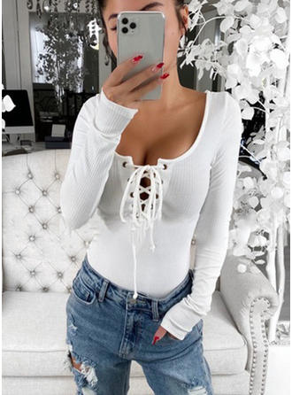 Solid Round Neck Long Sleeves Casual Elegant Sexy Knit Blouses