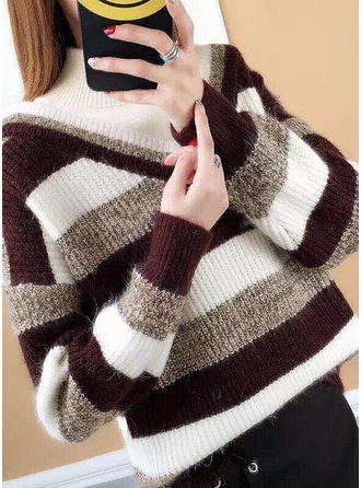 Polyester Stand Collar Striped Sweater