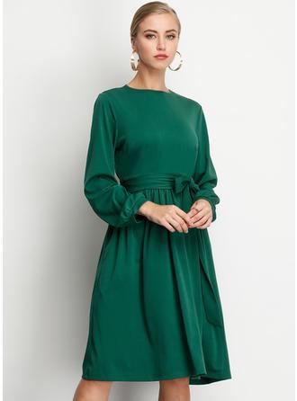 Fast 3/4 ärmar A-linjeformad Knälängd Vintage/Fritids/Elegant Klänningar