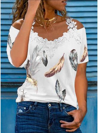 Print Kant Cold Shoulder Korte Mouwen Pailletten Overhemd