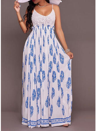Lace/Print Sleeveless A-line Casual/Vacation Maxi Dresses