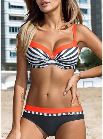 Rayures Armature À Bretelles Sexy Grande taille Bikinis Maillots De Bain