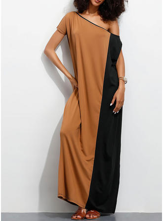 Color Block Cold Shoulder Sleeve Shift Casual/Vacation Maxi Dresses