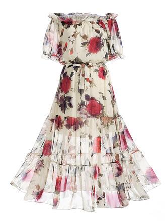 Print Floral Off-the-Shoulder Midi A-line Dress