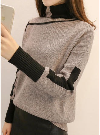 Cotton Blends Turtleneck Geometric Print Patchwork chunky knit Sweater
