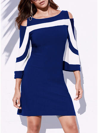 Print/Striped 3/4 Sleeves/Cold Shoulder Sleeve Sheath Above Knee Casual/Elegant Dresses