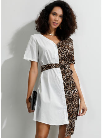 Animal Print/Patchwork Short Sleeves A-line Asymmetrical Party Dresses