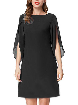Solid High Neck Above Knee Shift Dress