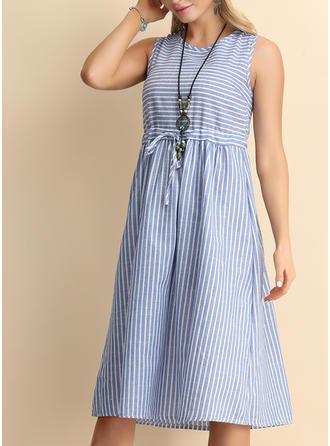 Striped Sleeveless A-line Knee Length Casual Dresses (199264063)