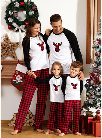 Color-block Deer Plaid Family Matching Christmas Pajamas