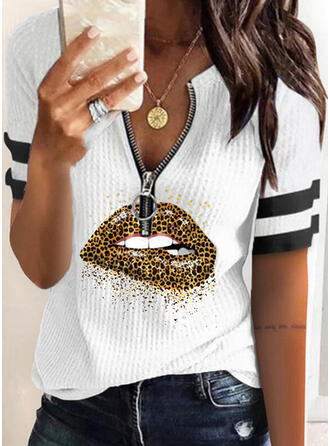Print Striped Leopard V-Neck Short Sleeves Casual Knit Blouses