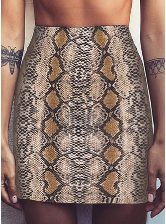 Polyester Animal Print Knee Length Pencil Skirts