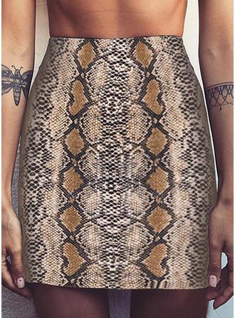 Polyester Motif Animal longueur au genou Jupes Crayon
