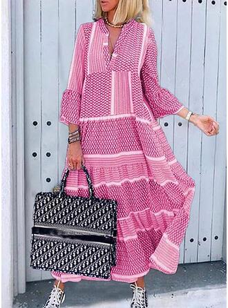 Print 3/4 Sleeves/Flare Sleeves Shift Tunic Casual Midi Dresses